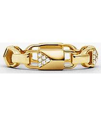 mk anello mercer link in argento sterling con placcatura in metallo prezioso e pavé - oro (oro) - michael kors