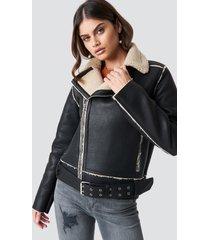 luisa lion x na-kd belted biker jacket - black
