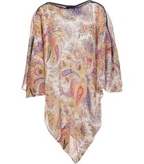 silk poncho with multicolor paisley print