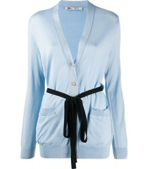 ports 1961 tie-waist buttoned cardigan - blue