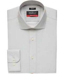 awearness kenneth cole awear-tech light gray patterned slim fit dress shirt