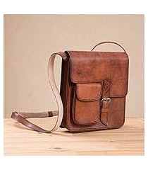 leather messenger bag, 'casual business' (peru)