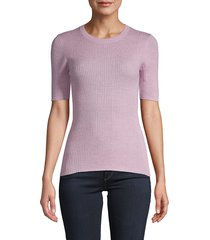 frame denim women's ribbed crewneck sweater - lavender - size l