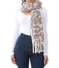 marcus adler women's willo leopard-print plush scarf - brown