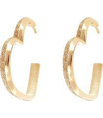orecchini a cerchio in ottone oro rosa a forma di cuore con glitter per donna