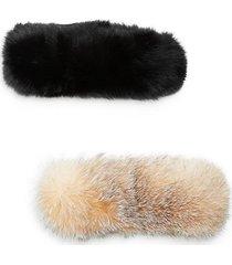 set of two full dyed fox fur headbands