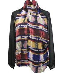 blusa multicolor manga transparente nicopoly