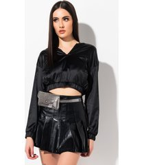 akira light out satin sweatshirt