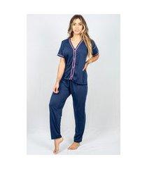 pijama adulto feminino longo aberto malha azul