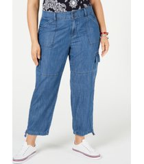 tommy hilfiger plus size chelsea cargo jeans, created for macy's