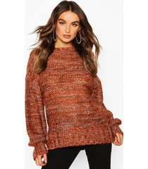 balloon sleeve marl mix sweater, terracotta
