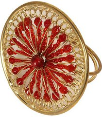 porta-guardanapo artesanal de metal com micanças rubi