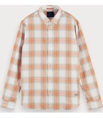 scotch & soda vervaagd geruit overhemd   regular fit