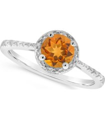 citrine (3/4 ct. t.w.) and diamond accent ring in sterling silver (also available in other gemstones)