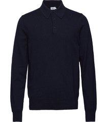 m. knitted polo shirt polos long-sleeved blå filippa k