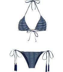 brigitte tati tanga julia triangle bikini set - blue