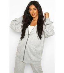 basic oversized zip through hoodie, grey marl