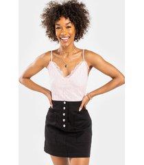 olgae button side pocket mini skirt - black