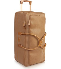 bric's designer travel bags, life - large camel micro suede rolling duffle bag
