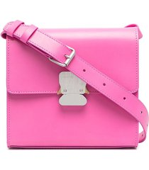 1017 alyx 9sm branded-buckle leather shoulder bag - pink