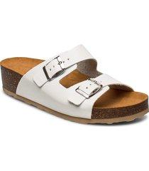 biabetty wedge buckle sandal shoes summer shoes flat sandals vit bianco