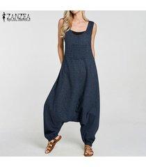 zanzea mujeres compruebe la caída de la tela escocesa de la entrepierna harem el traje de peto bib pantalones de carga de signo más (no incluye el interior y camisa) -azul marino