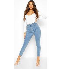 high rise skinny jeans, middenblauw