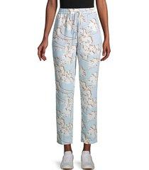 bcbgmaxazria women's floral drawstring pants - skyway - size xs