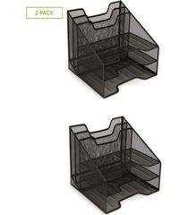 mind reader mesh desk organizer with 5 trays, 2 pack, black