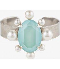 bransoletka perla z miętowym kryształem