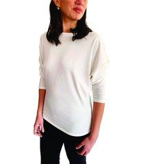blusa blanca manga recogida cuello redondo s