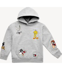 tommy hilfiger girl's tommy jeans x looney tunes hoodie pale grey heather - 12