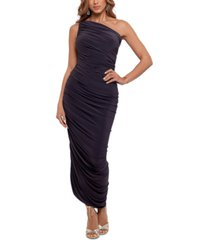 betsy & adam one-shoulder scrunched gown