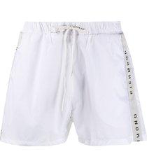 john richmond logo drawstring swim shorts - white