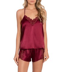 women's in bloom by jonquil grace short satin pajamas, size x-large - burgundy