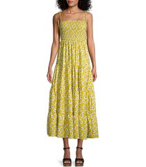 stellah women's floral smocked tiered dress - yellow - size s