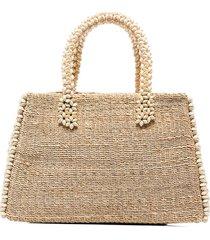 aranaz beaded detail raffia tote bag - neutrals
