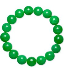 dyed green jade (12mm) beaded stretch bracelet