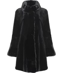 wolfie furs women's made for generation tm sheared mink coat - black - size 4