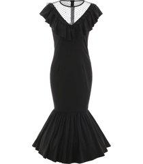 lace panel drop waist maxi flounce dress