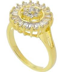 anel flor com zircônias cravadas 3rs semijoias dourado - kanui