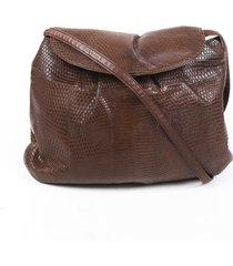bottega veneta brown lizard skin crossbody bag brown sz: m