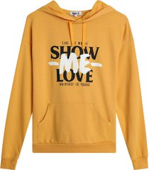 buzo mujer show me love color amarillo, talla l