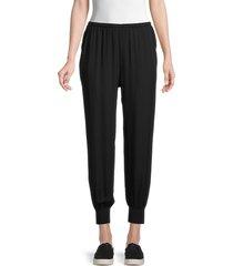 theory women's rib-cuff silk joggers - black - size xs
