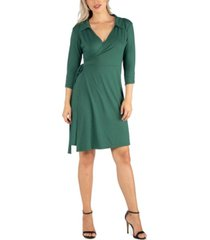 24seven comfort apparel women's knee length collared wrap dress