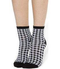 calzedonia - fancy patterned socks, one size, black, women