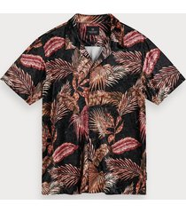 scotch & soda printed velour shirt hawaii fit