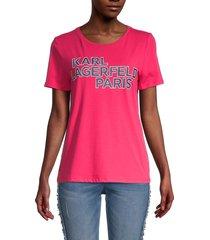 karl lagerfeld paris women's logo-print t-shirt - summer berry - size xxs