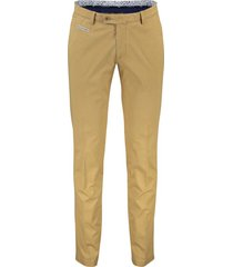 portofino pantalon flatfront geel slim fit