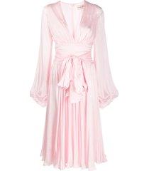 alexandre vauthier silk bow detail midi dress - pink